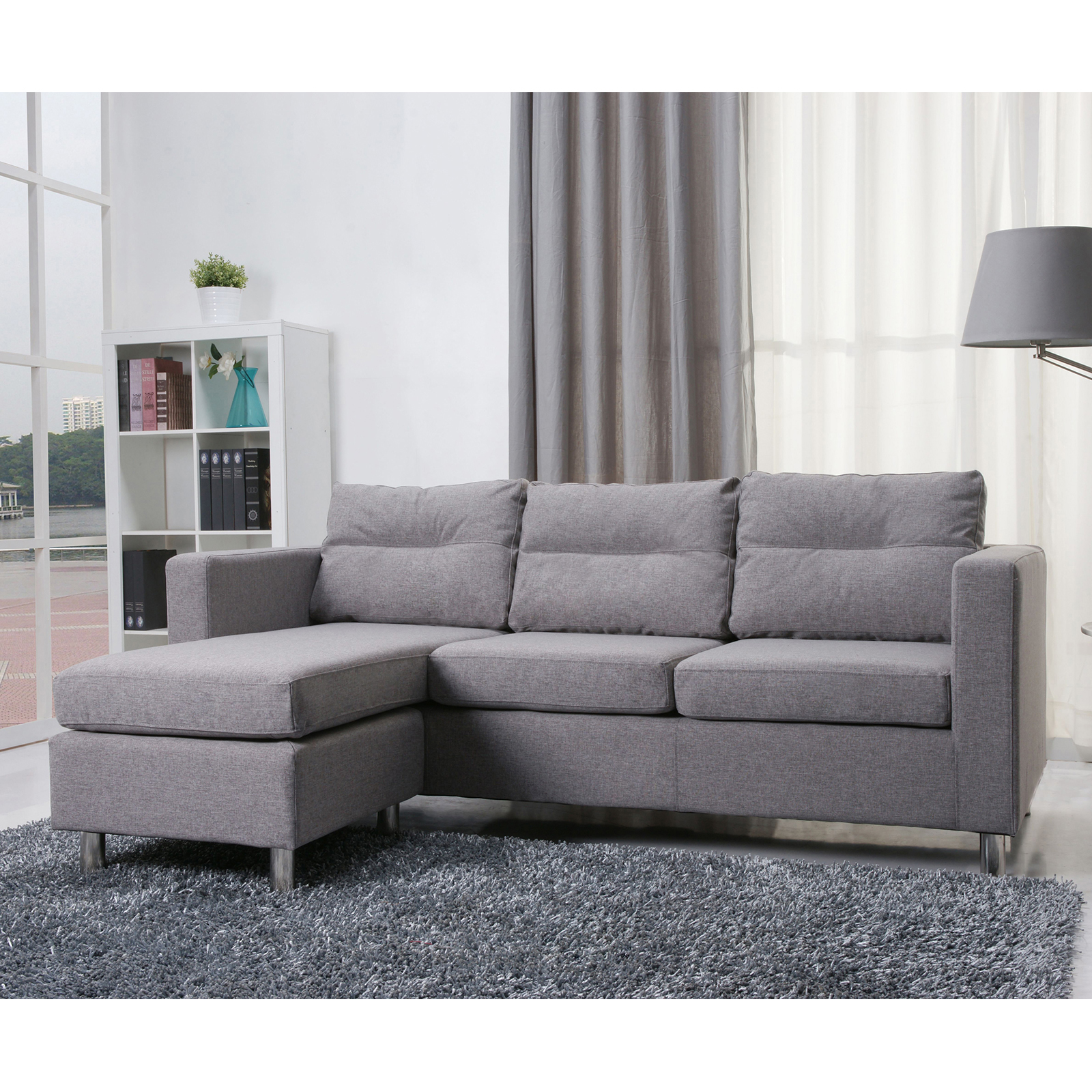 GOLD SPARROW DETROIT FABRIC CONVERTIBLE SECTIONAL SOFA AND OTTOMAN SET ASH