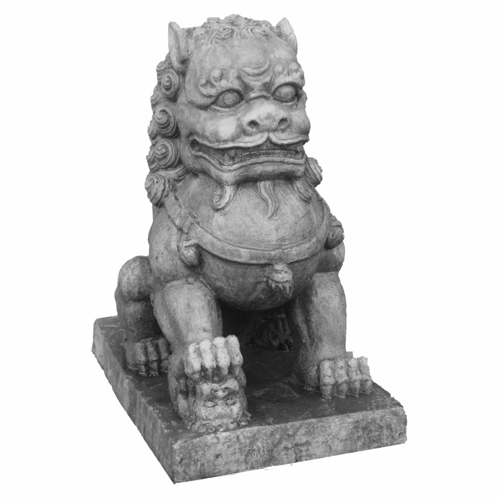 Hi-Line-Foo-Dog-with-Right-Paw-on-Cub-Statue