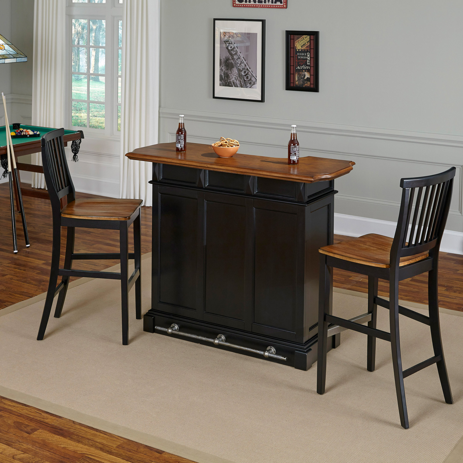 Bon Home Styles Americana Home Bar With 2 Stools