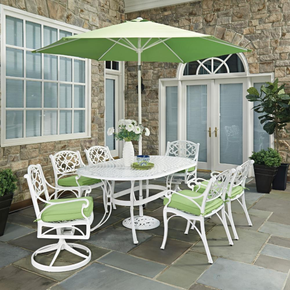 home styles biscayne 9 piece oval outdoor dining set with cushions