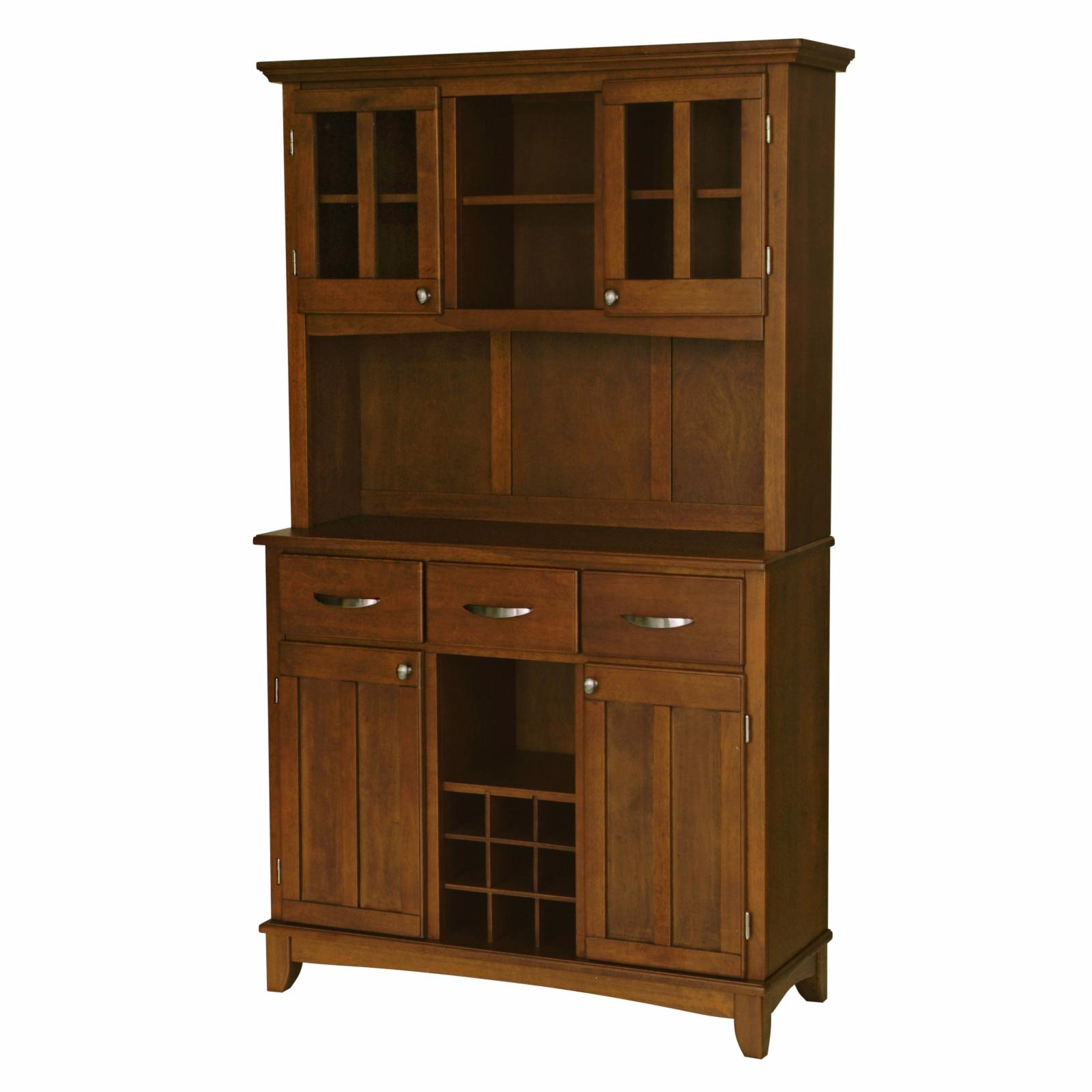 Home Styles Large Wood Bakers Rack with Two Door Hutch - ...