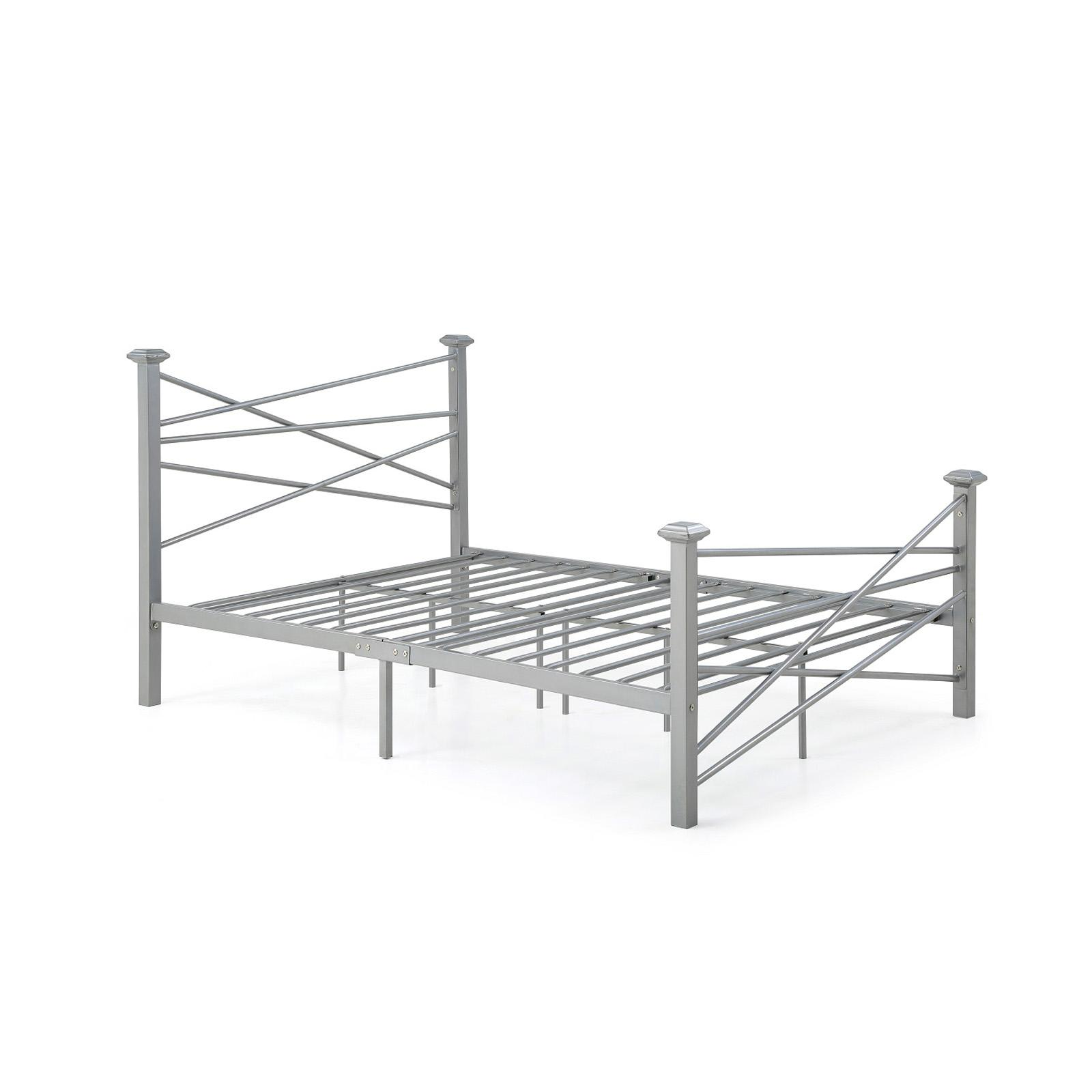 Hodedah Imports Geometric Metal Poster Bed - HI925 F SILVER