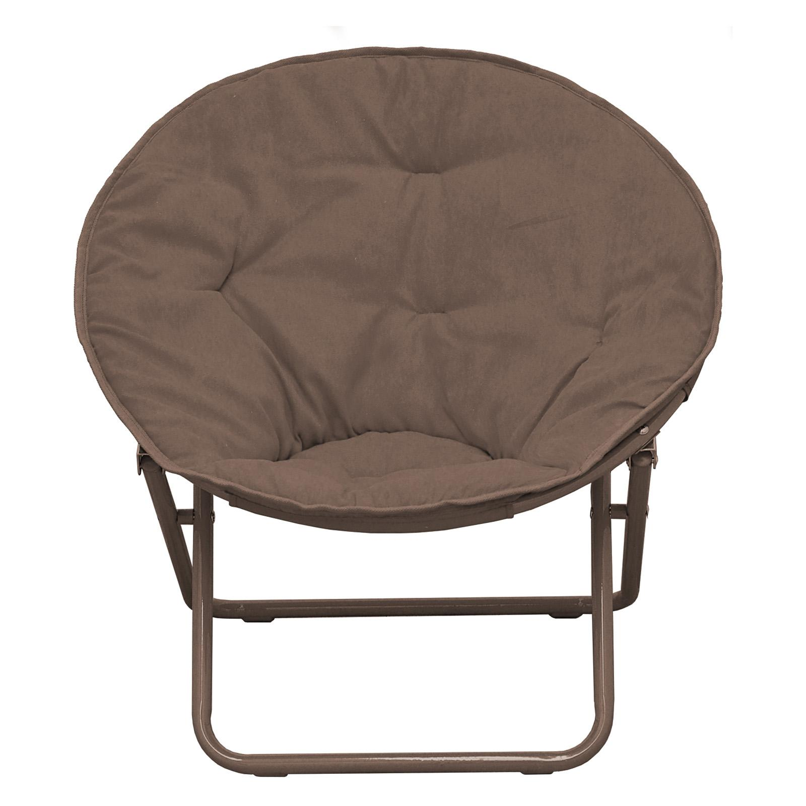 American Kids Solid Faux-Fur Saucer Chair Brown - WK656328