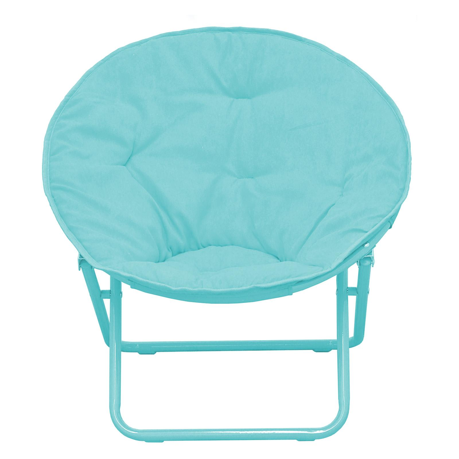 American Kids Solid Faux-Fur Saucer Chair Teal - WK656330