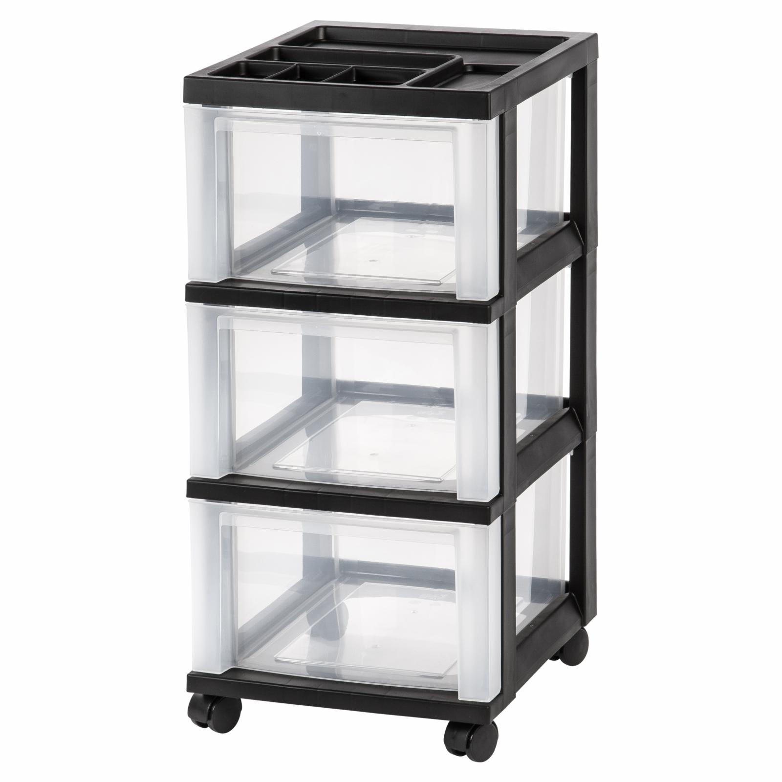 Iris USA Drawer Storage Cart with Casters Black - 116833