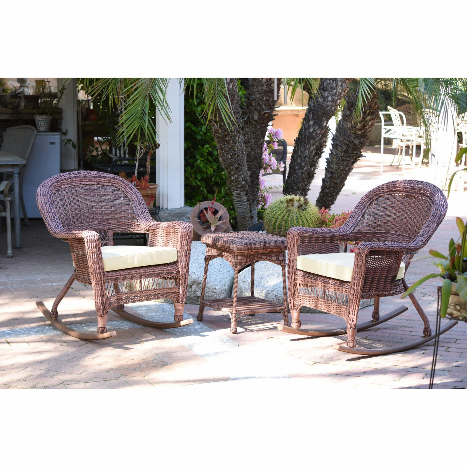 Outdoor Jeco 3 pc. Wicker Rocker Chair Set with Side Tabl...
