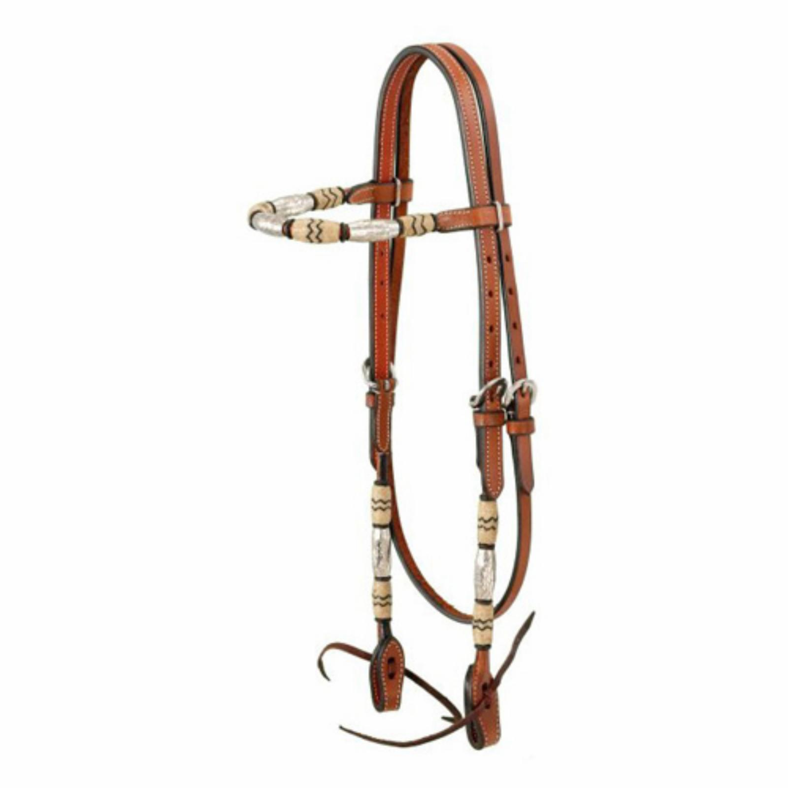 Royal King Browband Headstall with Braided Rawhide and Si...