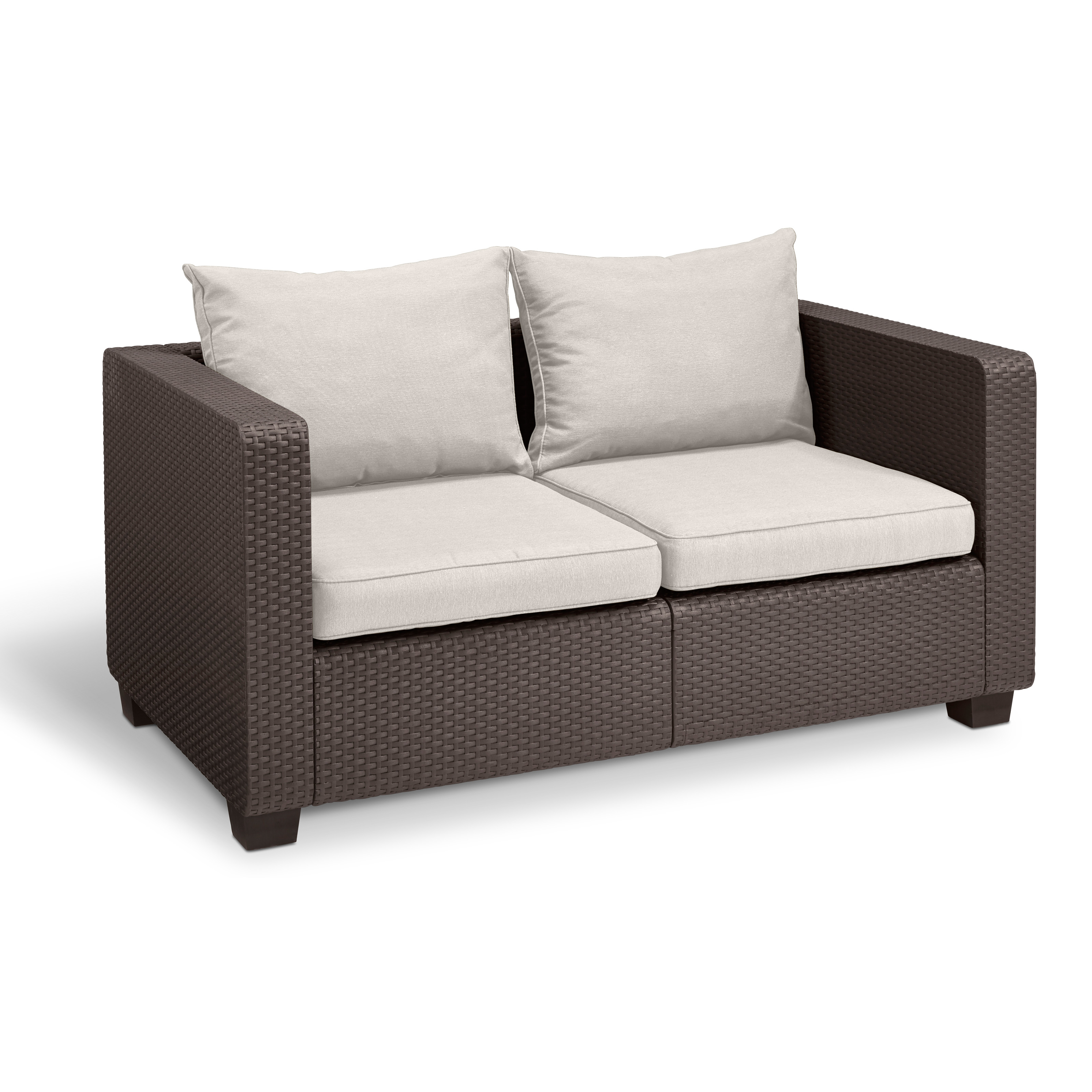 Keter Salta Wicker Patio Loveseat With Sunbrella Cushions