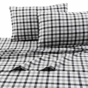 Printed Flannel 4 Piece Micro Plaid Sheet Set by Tribeca Living