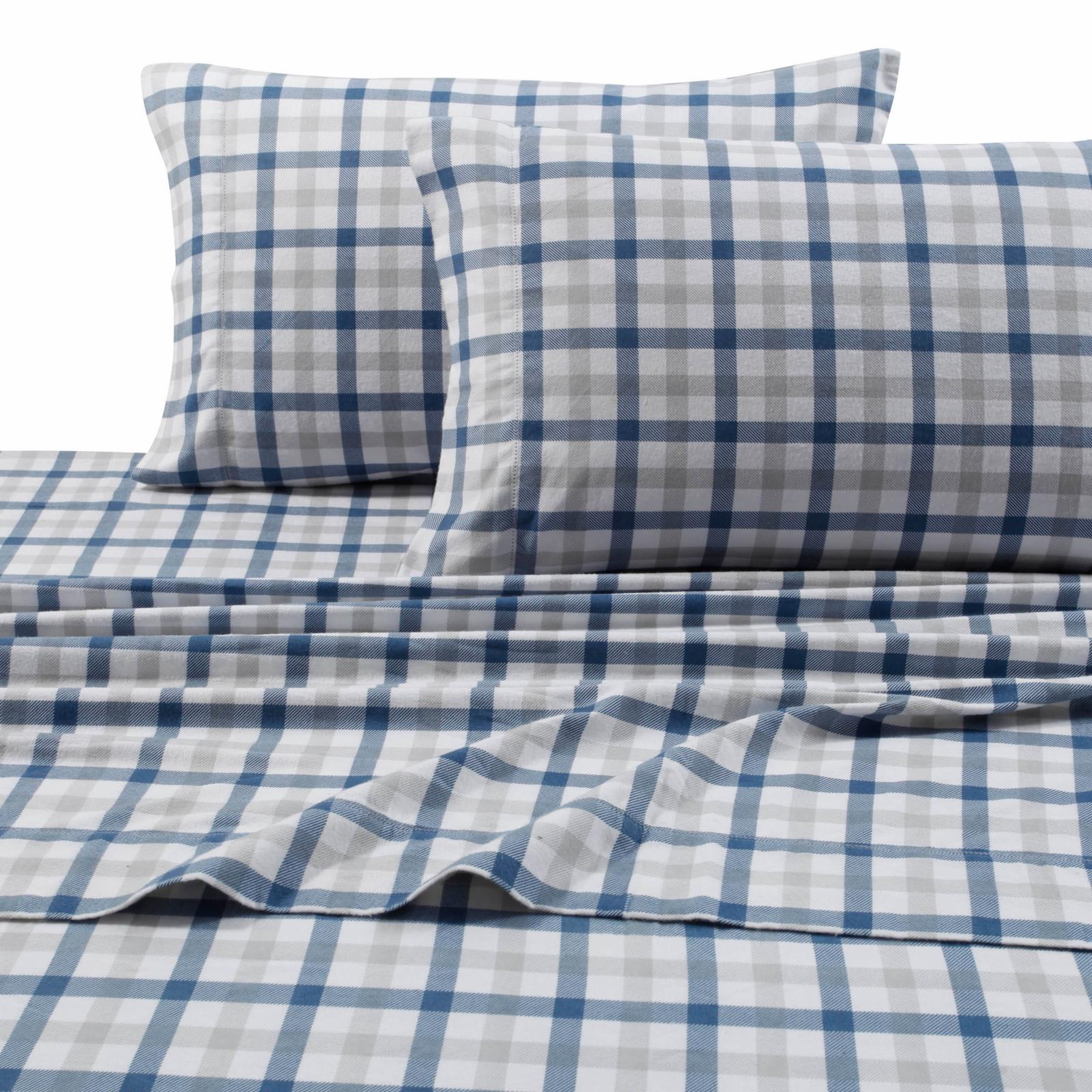 Printed Flannel 4 Piece Micro Plaid Sheet Set by Tribeca ...
