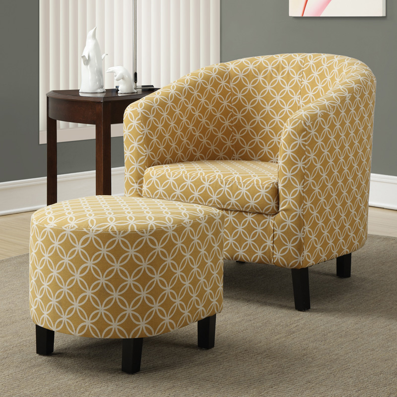 Monarch Specialties Hampden Barrel Chair With Ottoman