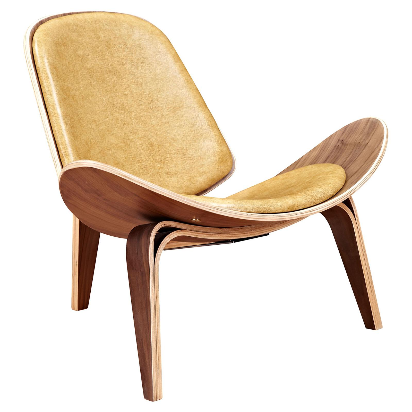 Nyekoncept Shell Leather Armless Chair Aged Maple - 224443-B