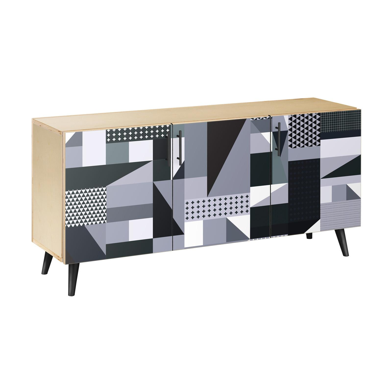 NyeKoncept Grayscale Patchwork Flare Sideboard - 13005052
