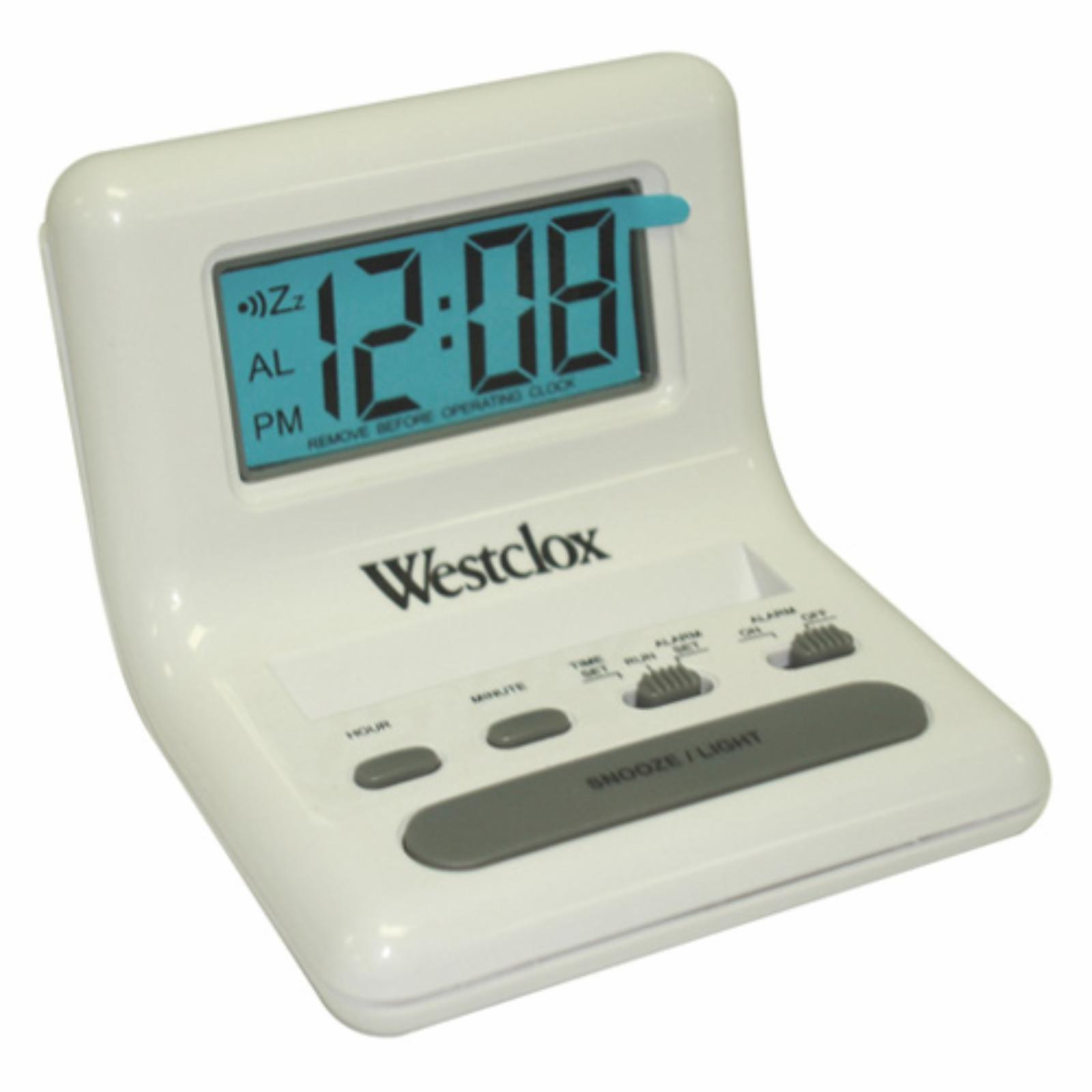 Westclox LCD Display Bedside Alarm Clock White - 47539A