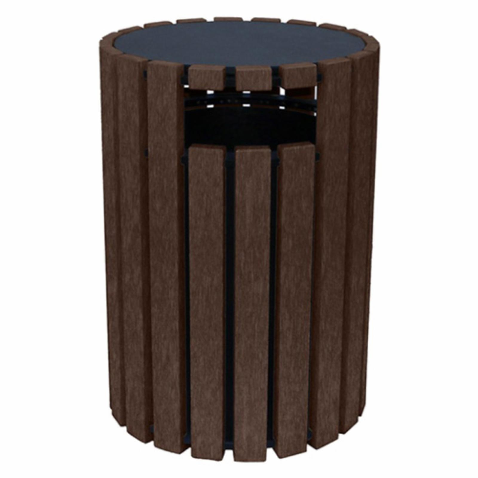 Polly Products 33 gal. Round Trash Receptacle with Rain Cap Brown - ASM-R33C-01-BK/BN