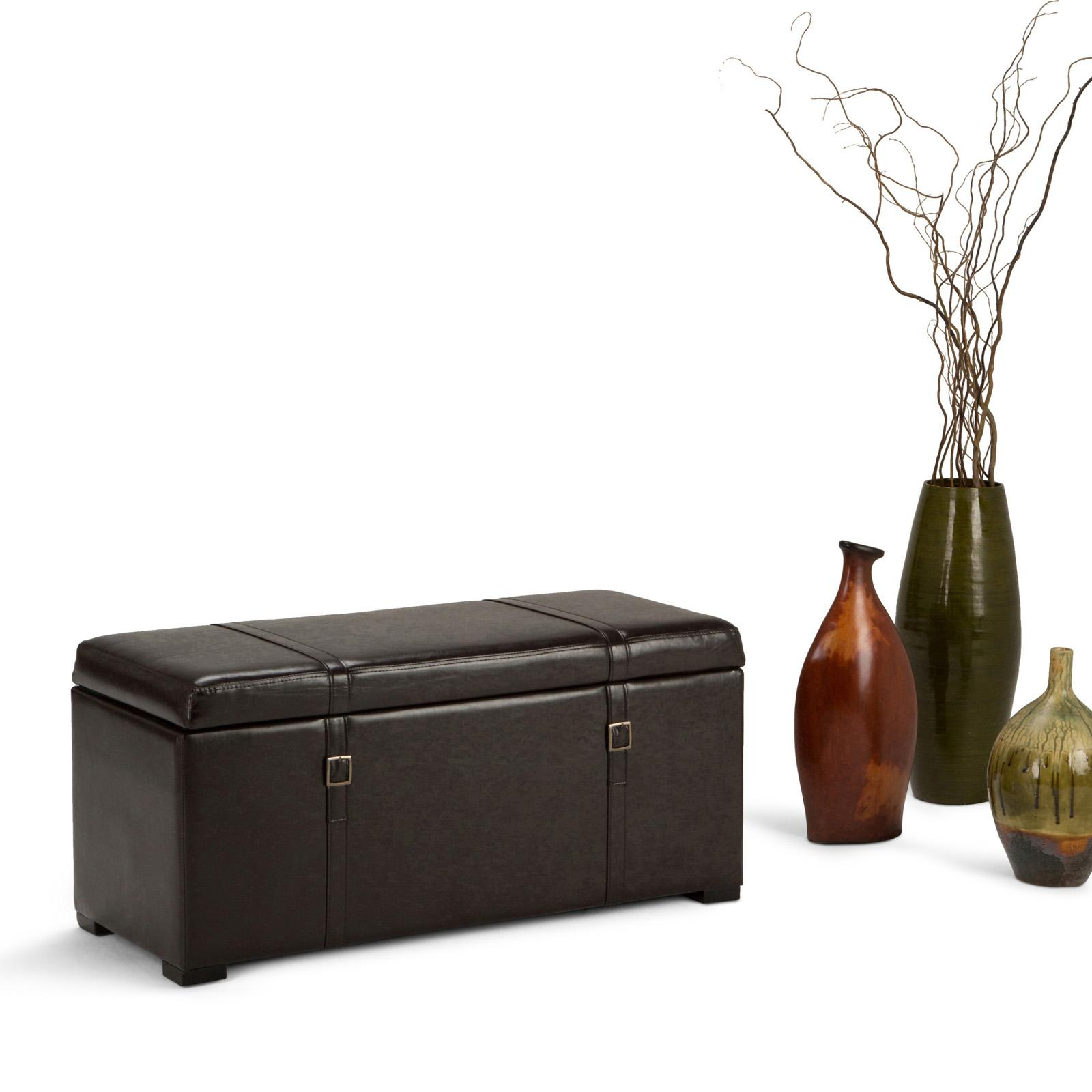 Simpli Home Dorchester 5 Piece Faux Leather Storage Bench and Ottoman Set - 3AXCOT-244-BR