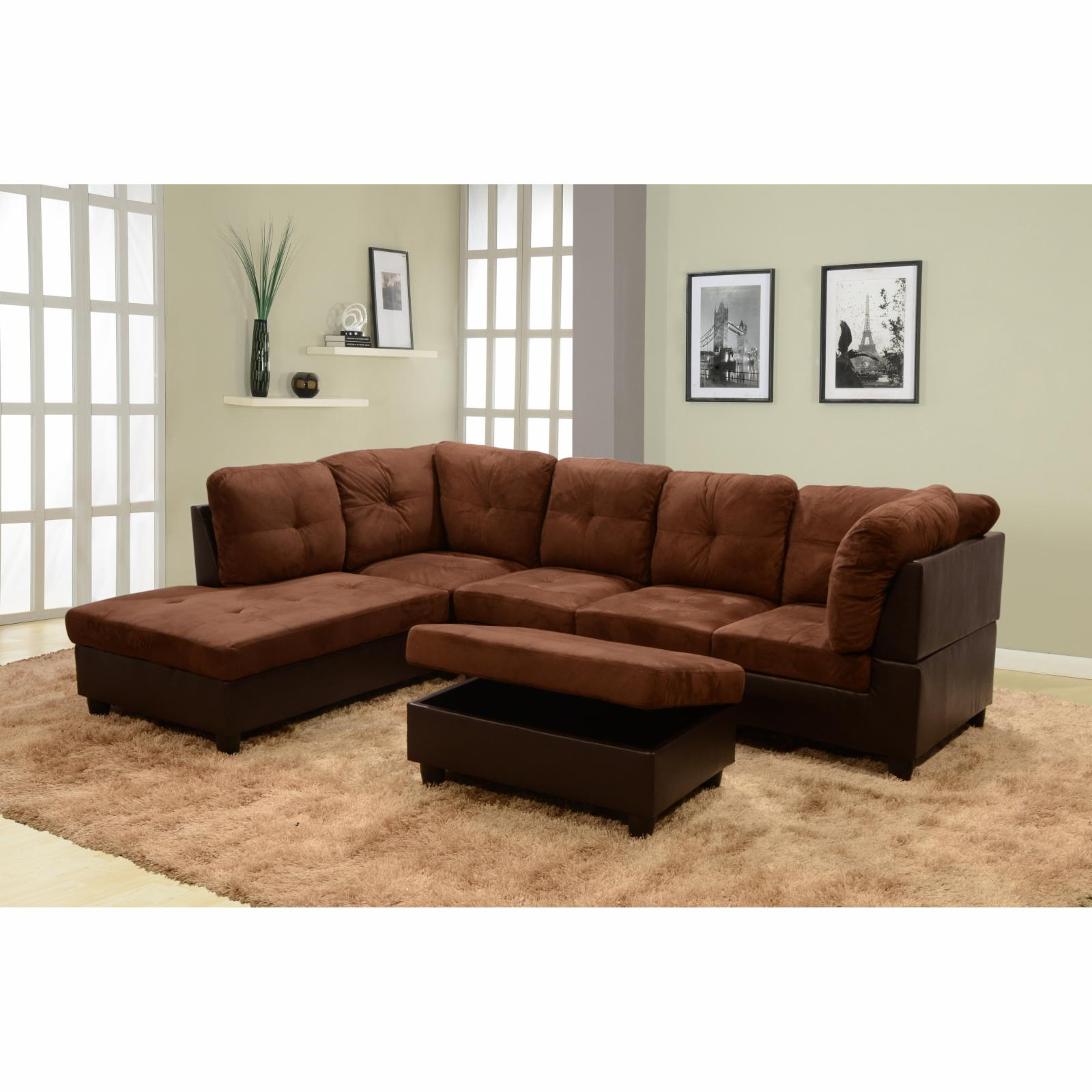 Beverly Fine Furniture 3 Piece Chocolate Microfiber Faux Leather