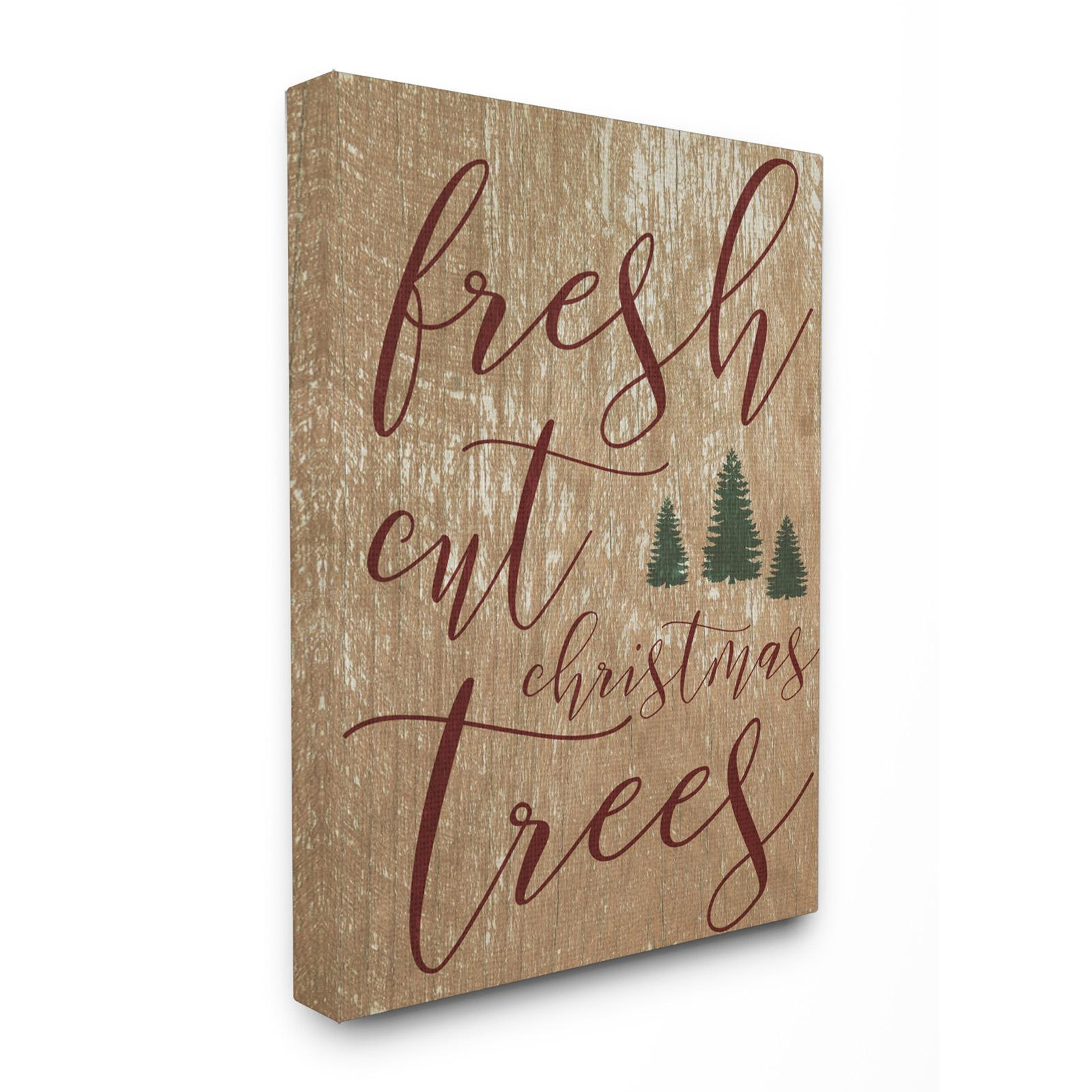 Stupell Decor Fresh Cut Christmas Trees Tan Stretched Can...