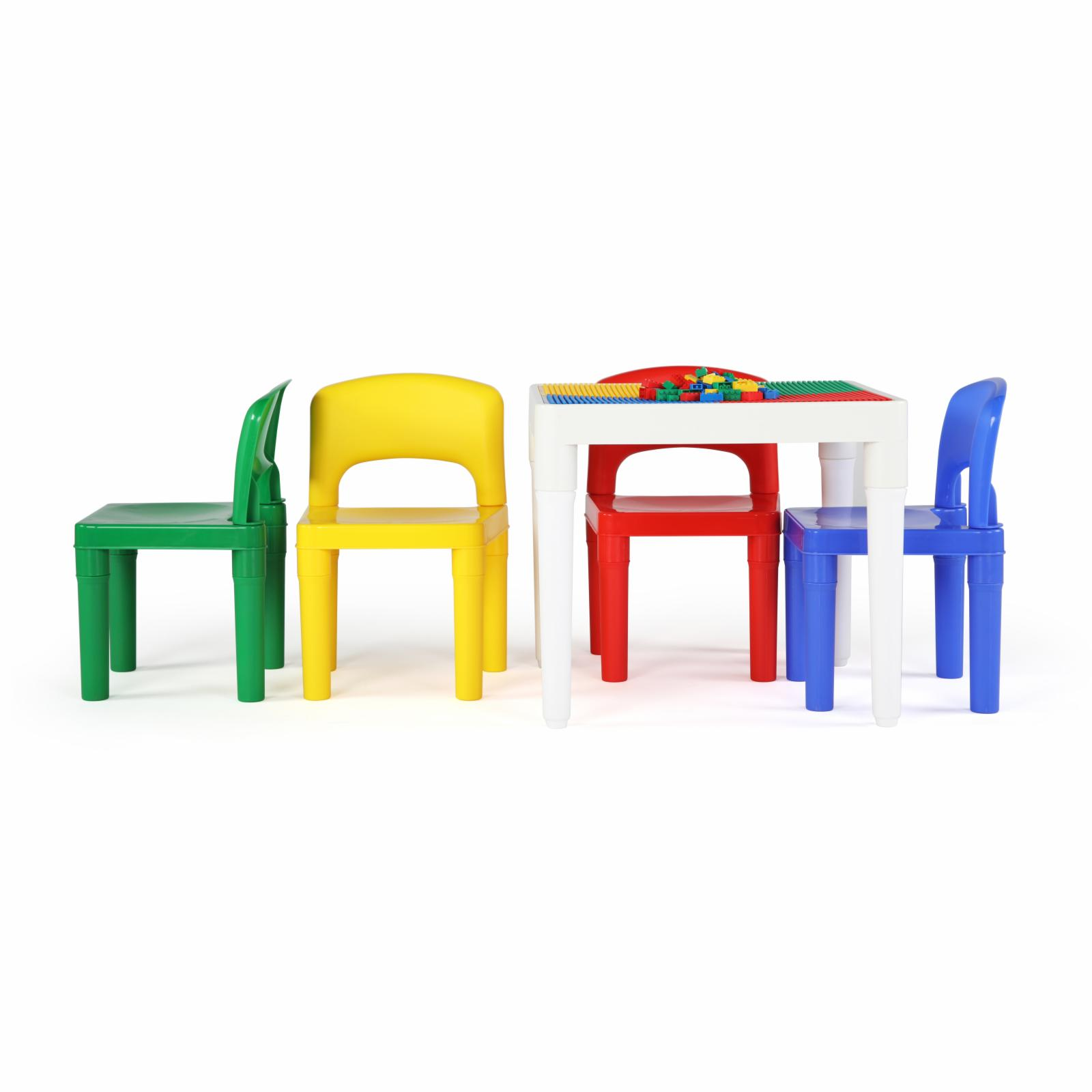Tot Tutors Playtime 2-in-1 Lego-Compatible 5 Piece Square Table and Chair Set Multicolor - CT794