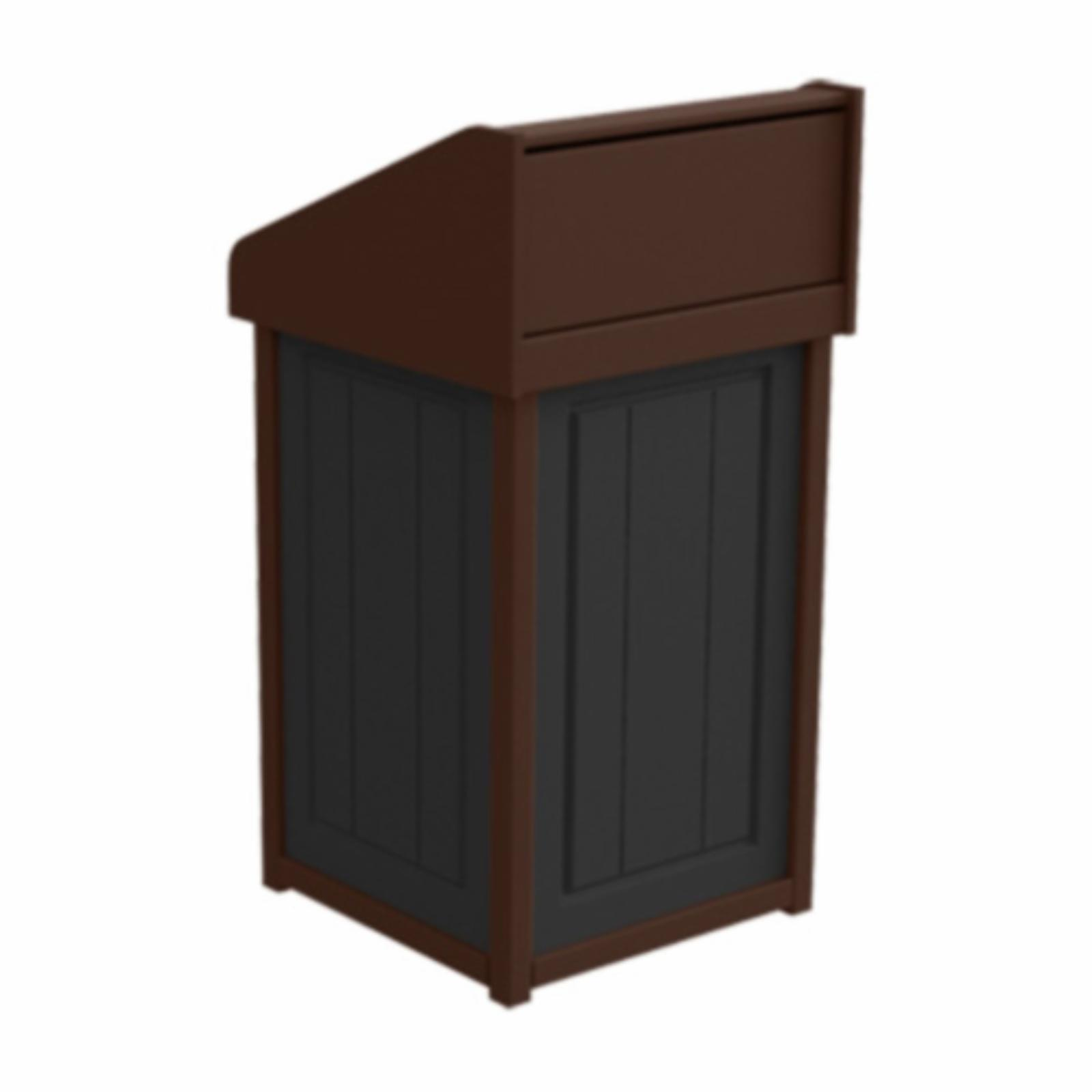 Treetop Products Two-Tone 33 Gallon Square Side Load Outdoor Push Door Trash Receptacle Black/Brown - 4ZK4749-BK/BN