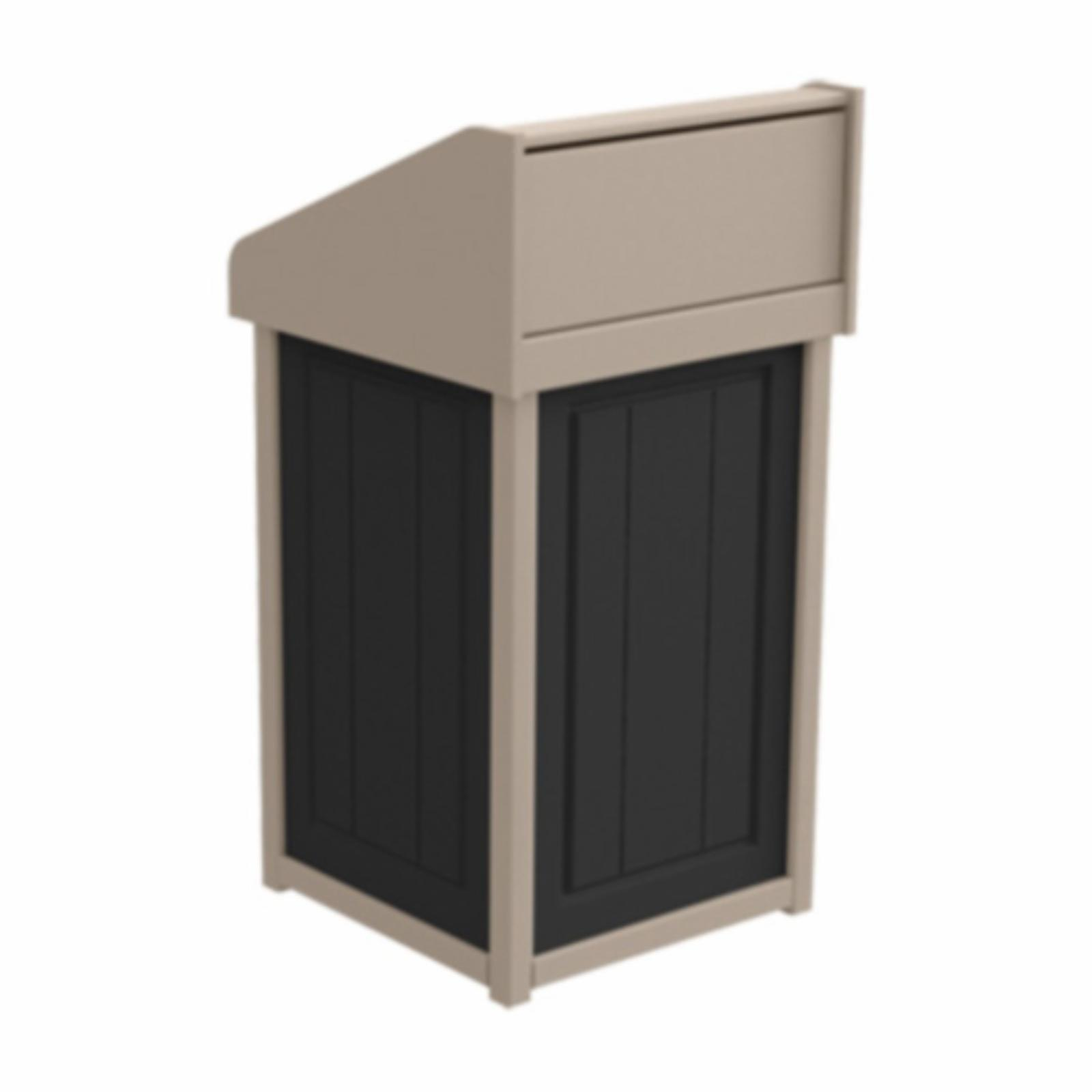 Treetop Products Two-Tone 33 Gallon Square Side Load Outdoor Push Door Trash Receptacle Black/Desert Tan - 4ZK4749-BK/DT