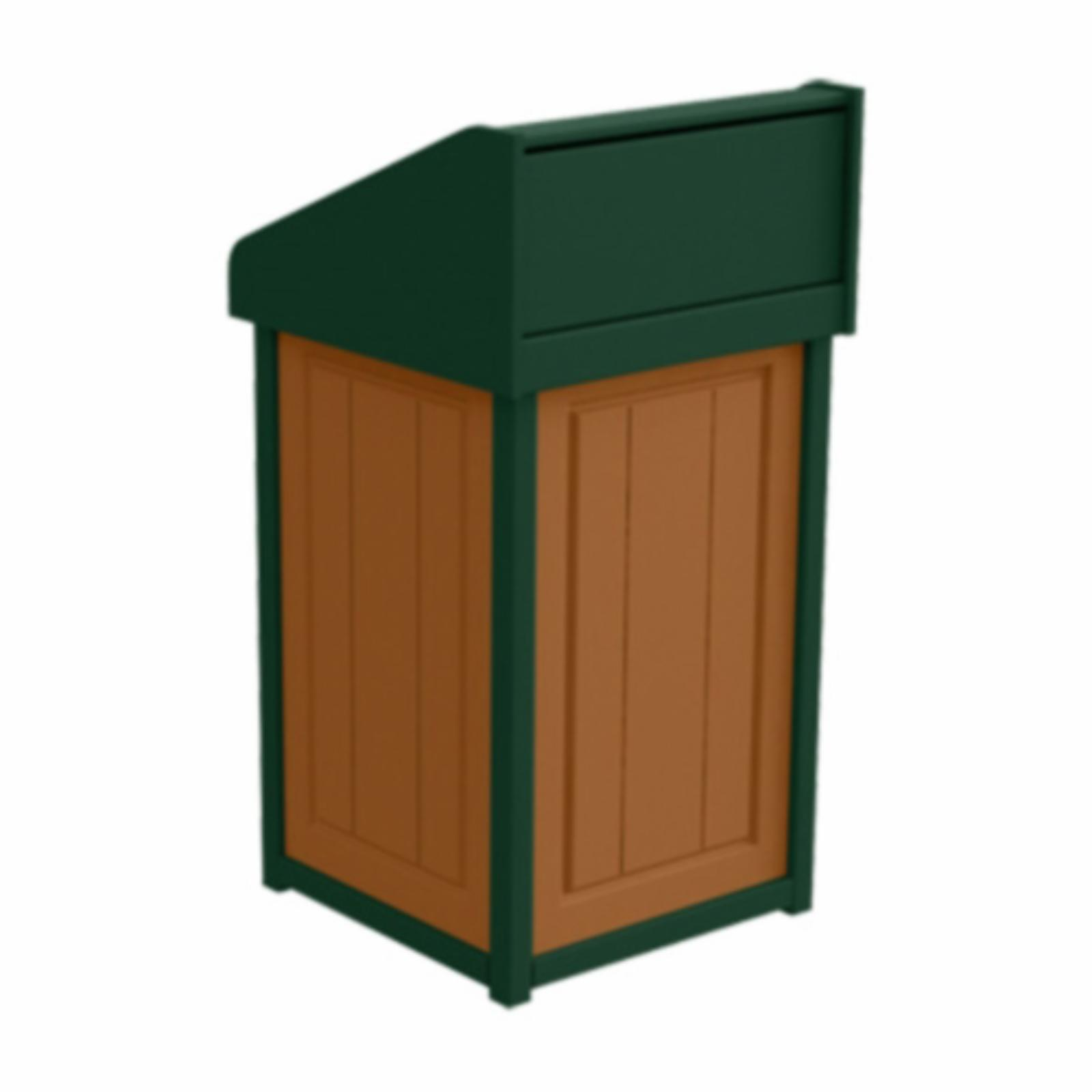 Treetop Products Two-Tone 33 Gallon Square Side Load Outdoor Push Door Trash Receptacle Cedar/Green - 4ZK4749-CD/GN