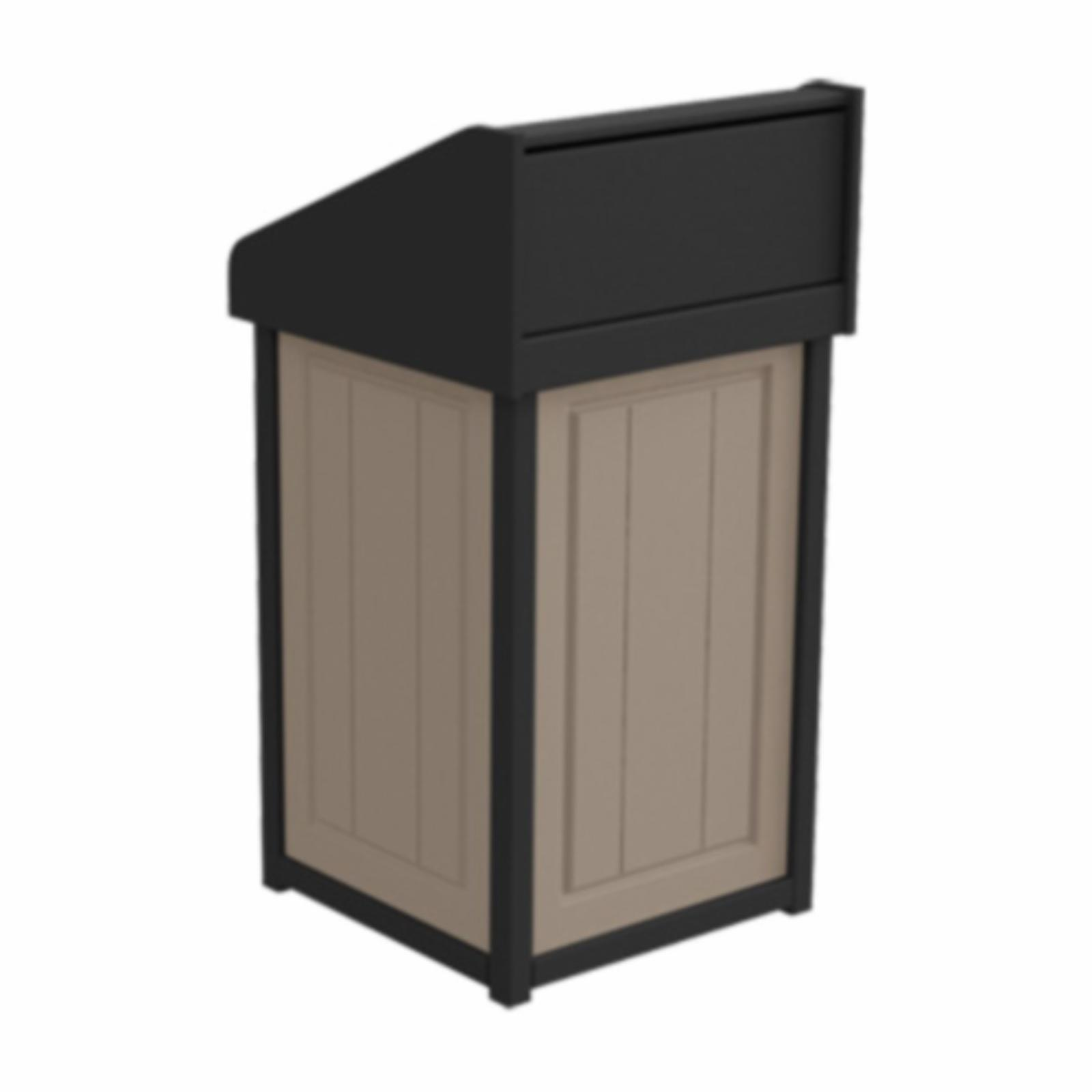 Treetop Products Two-Tone 33 Gallon Square Side Load Outdoor Push Door Trash Receptacle Desert Tan/Black - 4ZK4749-DT/BK