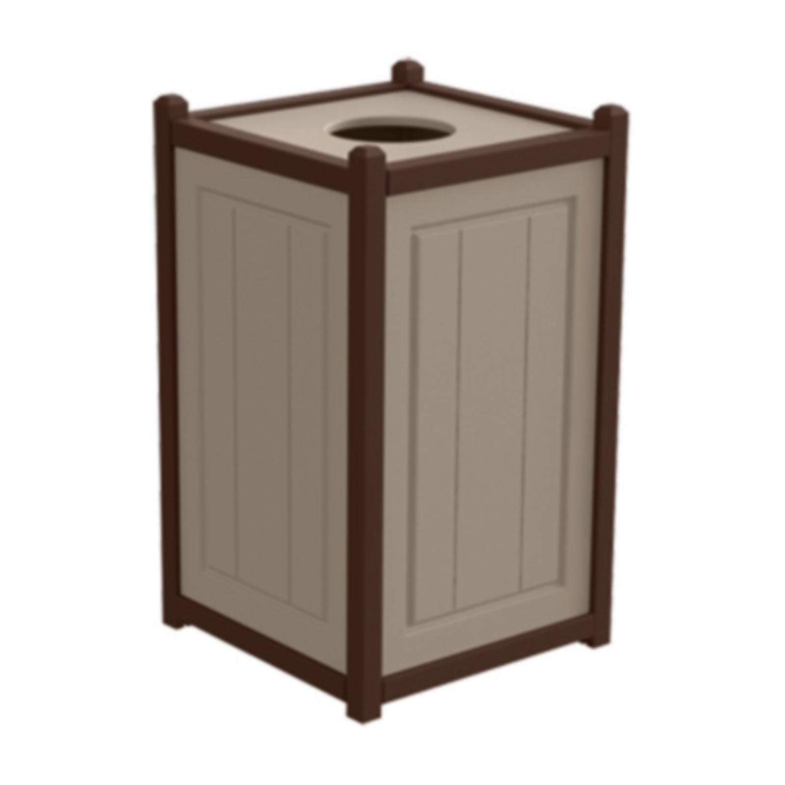 Treetop Products Two-Tone 33 Gallon Square Top Load Outdoor Trash Receptacle Desert Tan/Brown - 4ZK4759-DT/BN