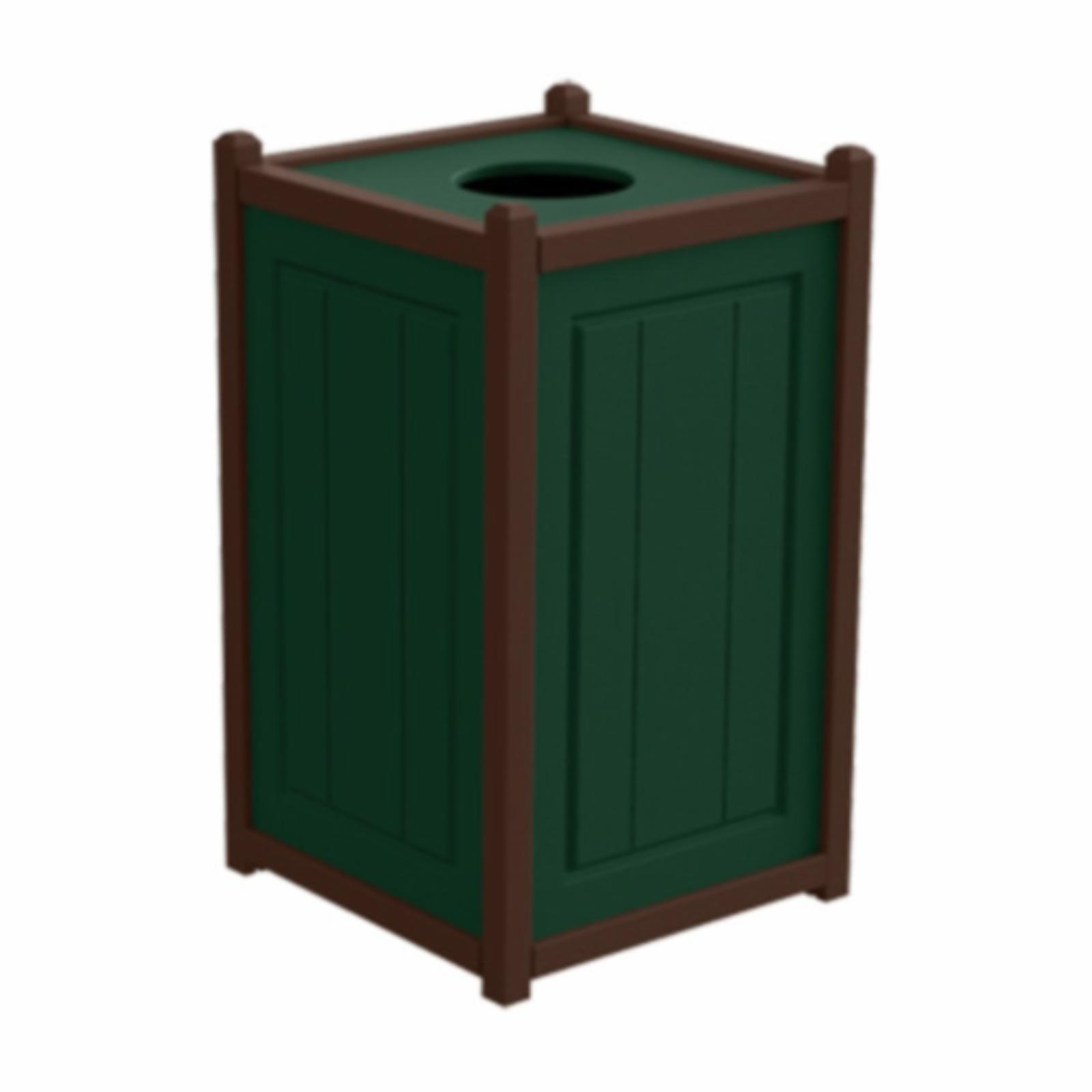 Treetop Products Two-Tone 33 Gallon Square Top Load Outdoor Trash Receptacle Green/Brown - 4ZK4759-GN/BN