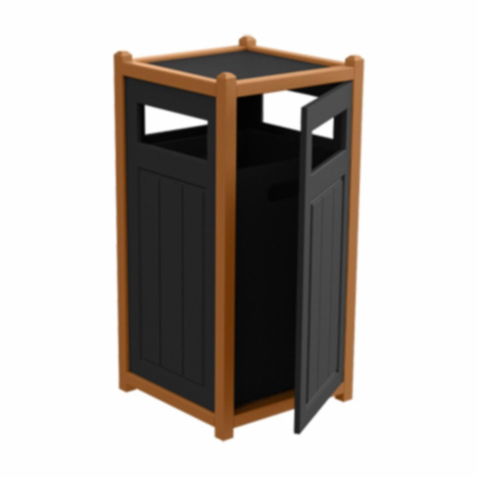 Treetop Products Two-Tone 33 Gallon Side Load Outdoor Trash Receptacle Black/Cedar - 4ZK4739-BK/CD