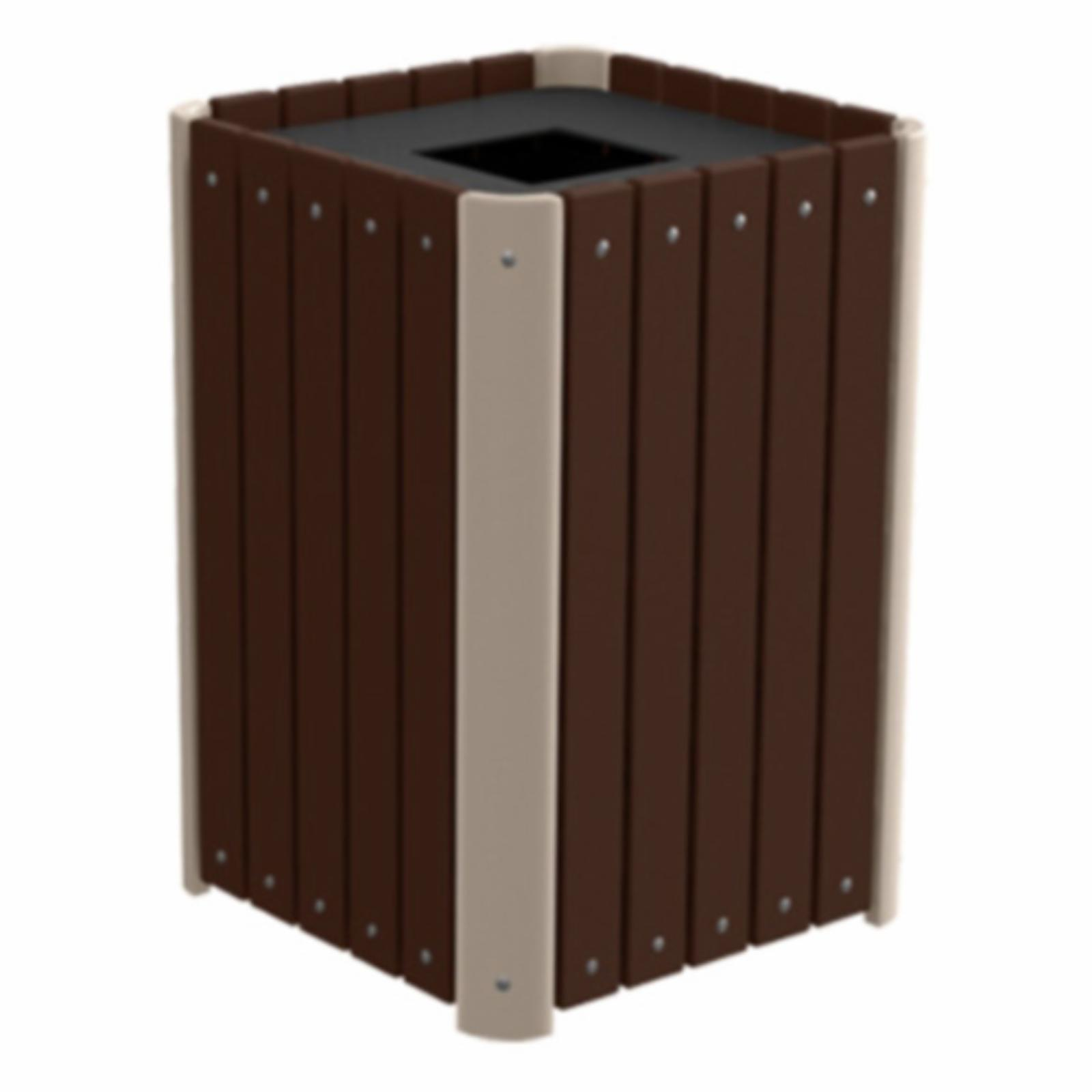 Treetop Products Regal Slatted 33 Gallon Top Load Outdoor Trash Receptacle Brown/Desert Tan - 4ZK4918-BN/DT
