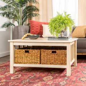 Walker Edison Coffee Table with Totes