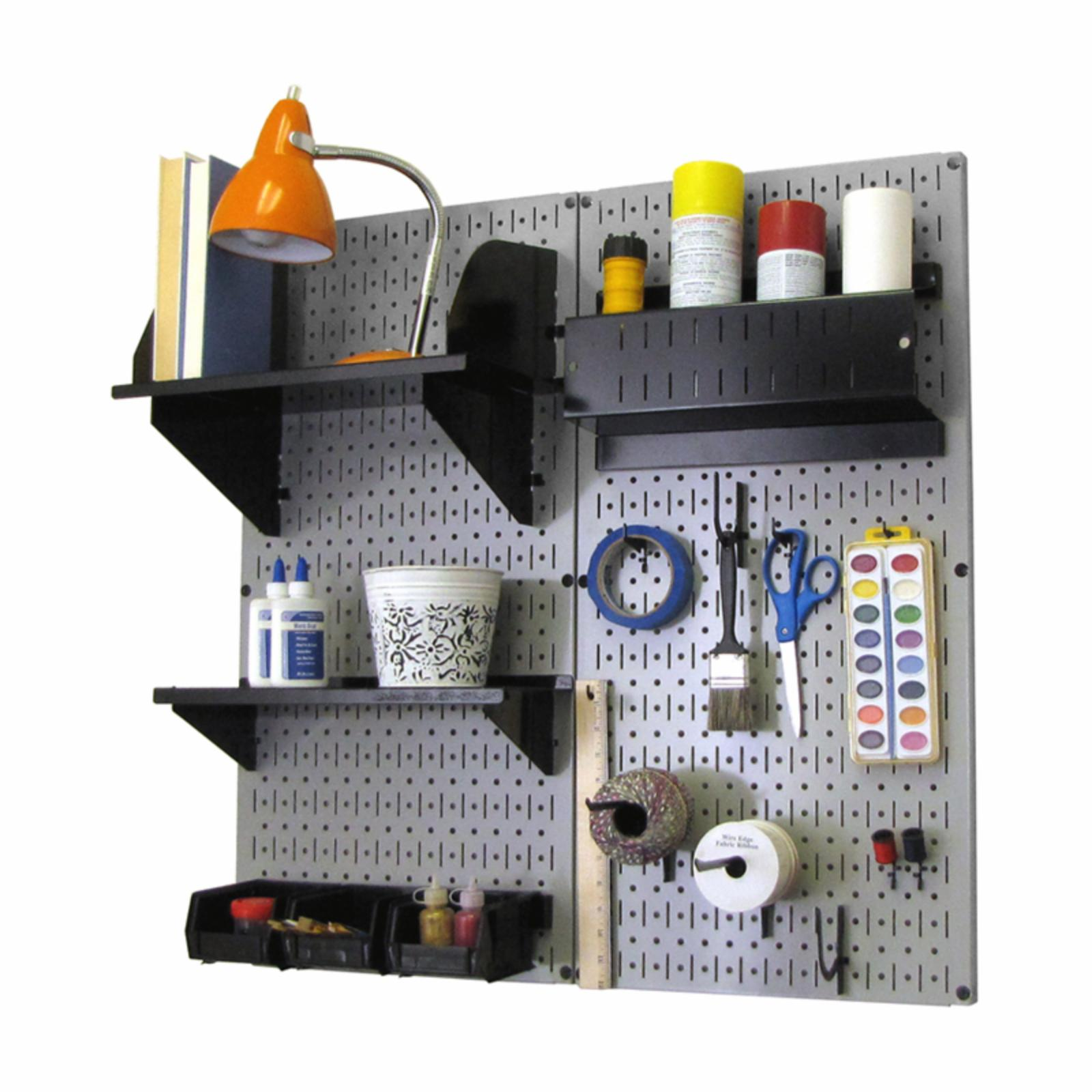 Wall Control Pegboard Hobby Craft Pegboard Organizer Storage Kit - Gray Gray with Black Accessories - 30-CC-200 GB