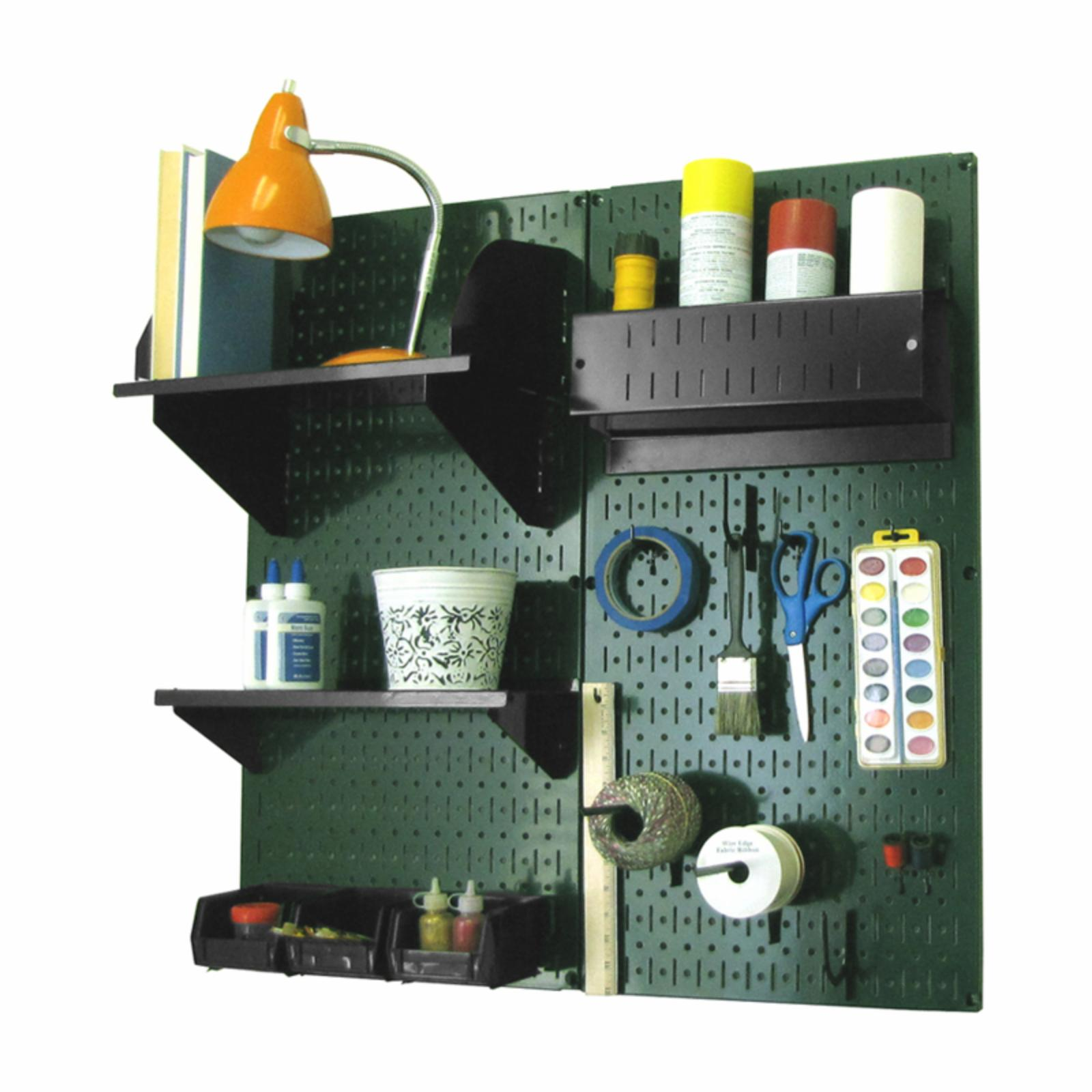 Wall Control Pegboard Hobby Craft Pegboard Organizer Storage Kit - Green Green with Black Accessories - 30-CC-200 GNB