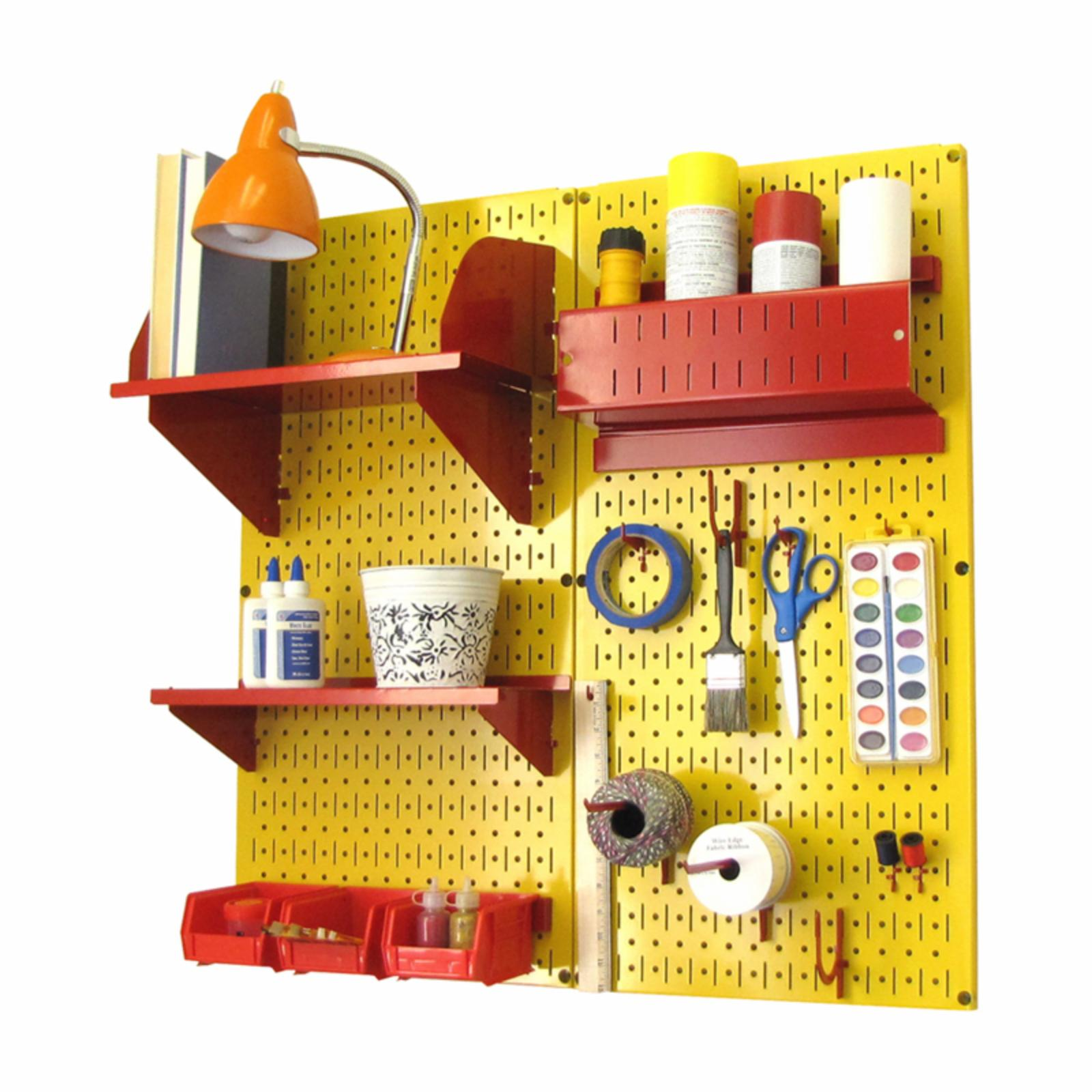Wall Control Pegboard Hobby Craft Pegboard Organizer Storage Kit - Yellow Yellow with Red Accessories - 30-CC-200 YR