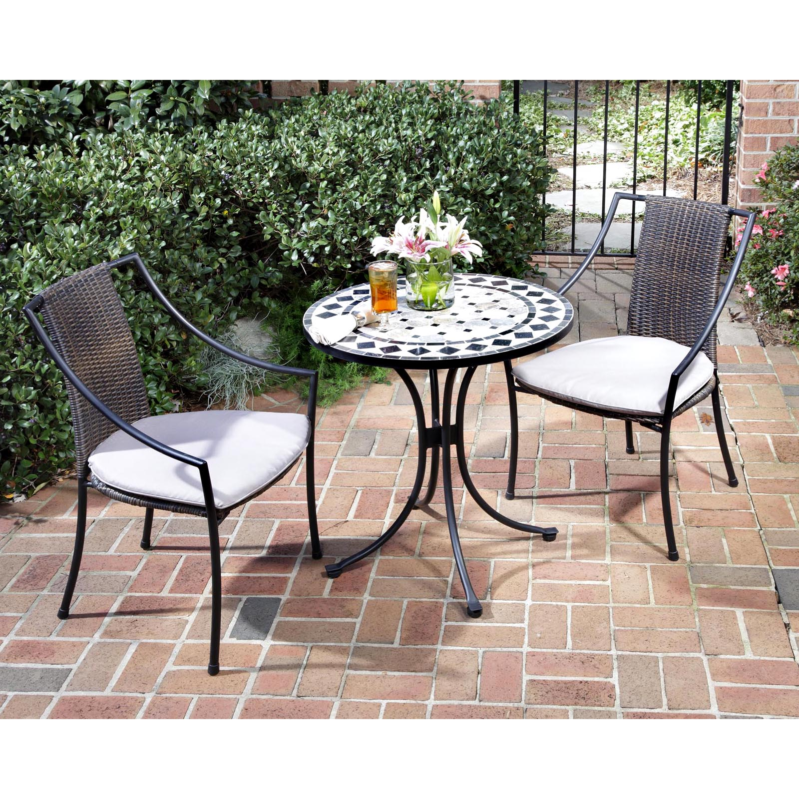 Superior Home Styles Marble Mosaic Bistro Set   Outdoor Bistro Sets At Hayneedle