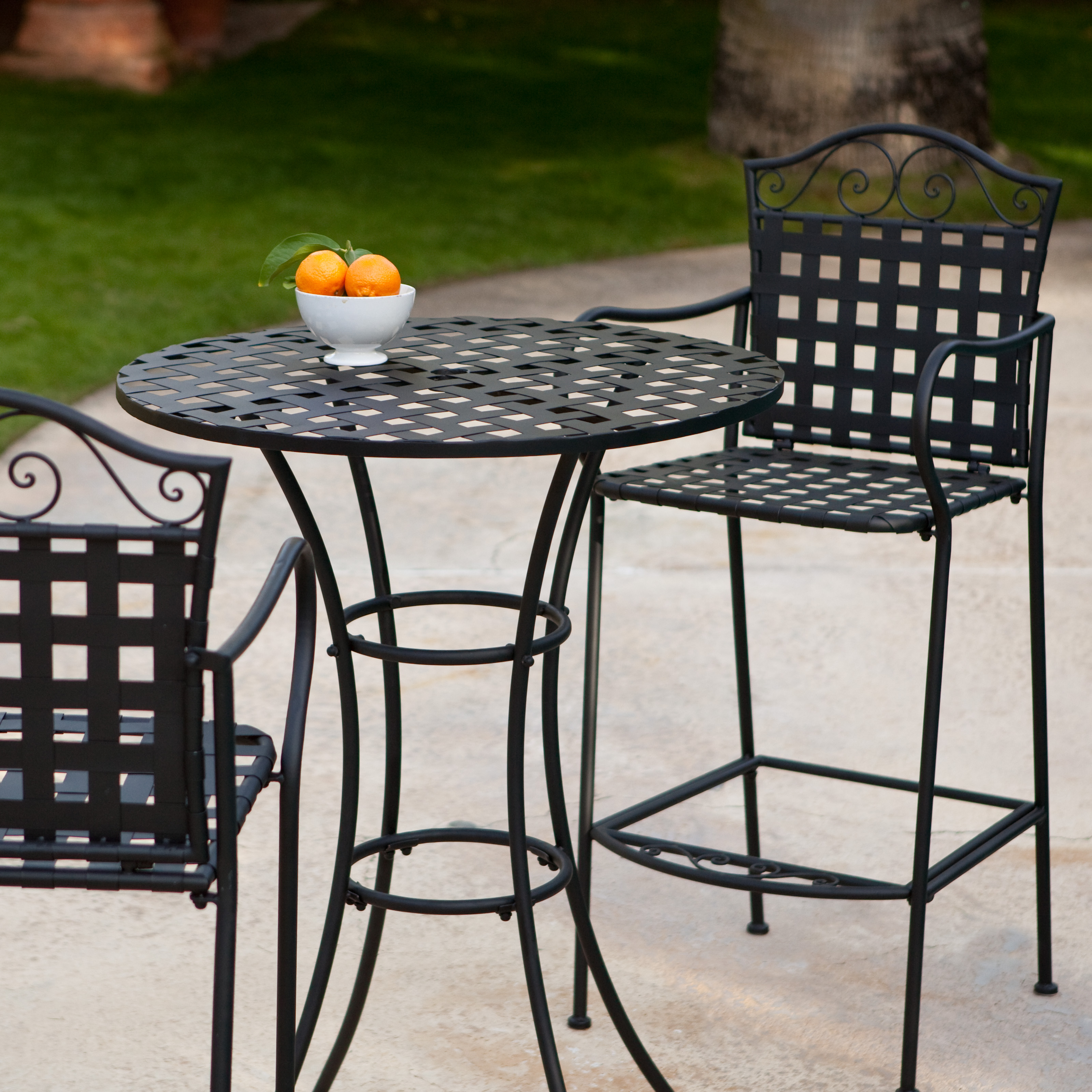 Belham Living Capri Wrought Iron Bar Height Bistro Table By Woodard Hayneedle